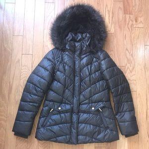 Jones New York Puffer Winter Coat w Fur Hood